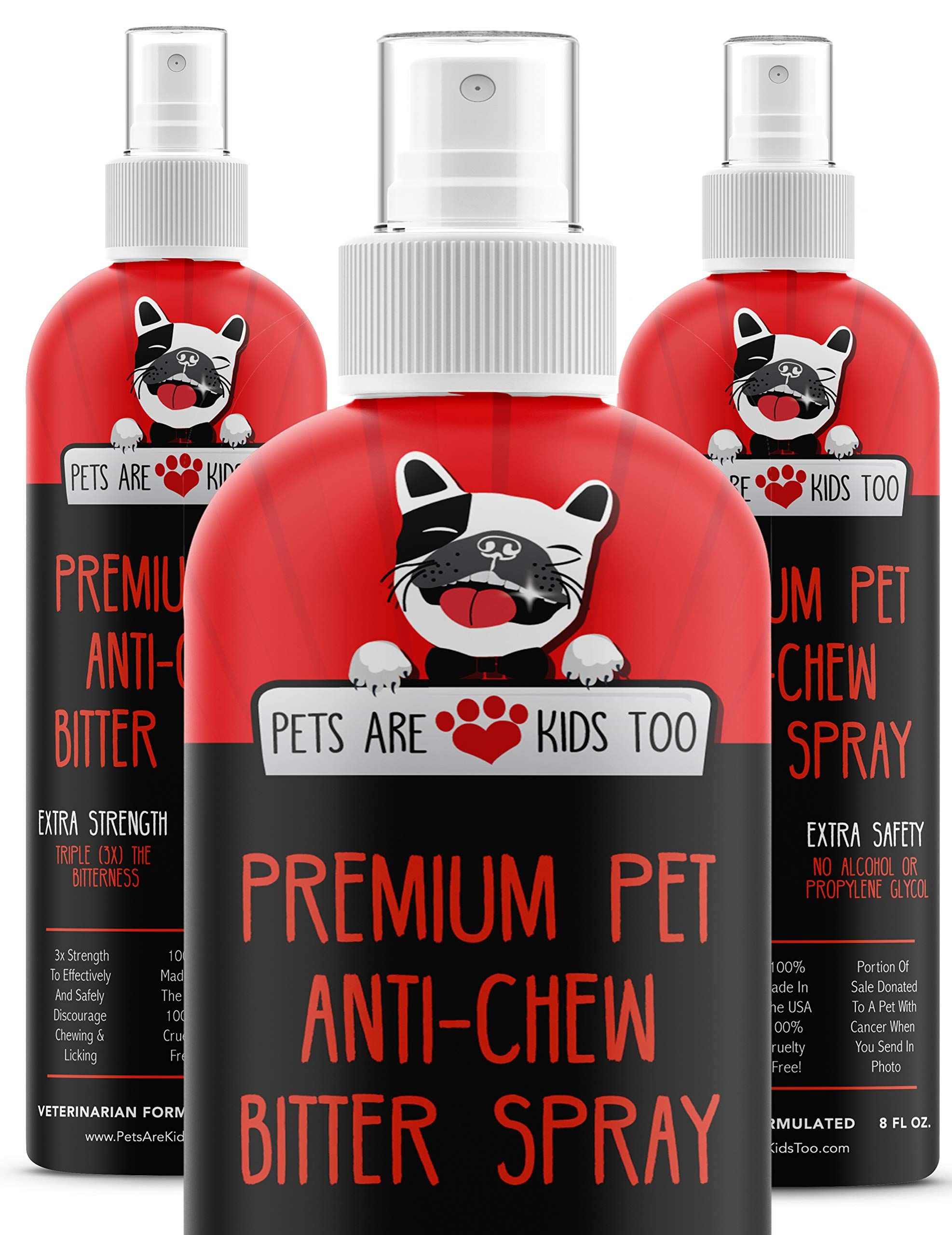 Anti Chew Dog Training Spray: No Chew Bitter Spray and Pet Deterrent for Dogs and Cats - Behavior Correction to Stop Chewing and Licking - Safe for Furniture, Paws and Bandages - 8 Oz (3 Pack) by Pets Are Kids Too