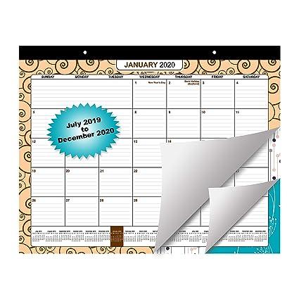 Calendario Pared 2019/2020 - Mensual Planificador desde Julio 2019 a Diciembre 2020 - Grande 18 Diseño Calendario (Papel de 200gsm) para Escolar y ...