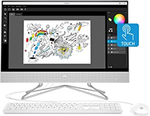 HP 24-inch All-in-One Touchscreen Desktop Computer, AMD Ryzen 5 4500U Processor, 12 GB RAM, 512 GB SSD, Windows 10 Home (24-dp0160, Silver)