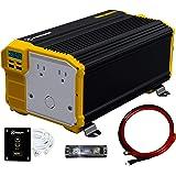 Krieger 4000 Watts Power Inverter 12V to 110V, Modified Sine Wave Car Inverter, Dual 110 Volt AC Outlets, Hardwire Kit…