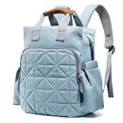 Diaper Bag Backpack for Mom or Dad with Stroller Straps, Changing Pad, Insulated Pockets | Waterproof Baby Diaper Bag, Organizer Pouches, Nappy Tote Bag for Girls or Boys | SoHo Kenneth Aqua Sage Blue