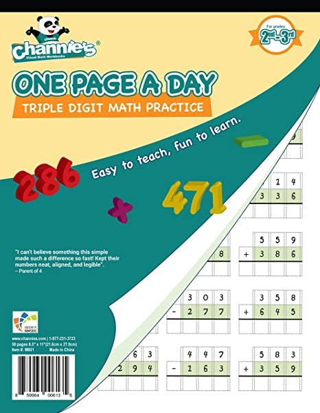 Channie's One Page A Day Triple Digit Math Workbook worksheet for 2nd on math project answers, math sheet answers, math test answers, math enrichment worksheets, math lessons answers, math table answers, worksheets and answers, math puzzle answers, math graphing worksheets,
