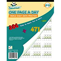 """Channie's One Page A Day Workbook, Triple Digit Math Practice Worksheets, 50 Pages Front and Back, 25 Sheets, Grades 2nd and 3rd, Size 8.5"""" x 11"""""""