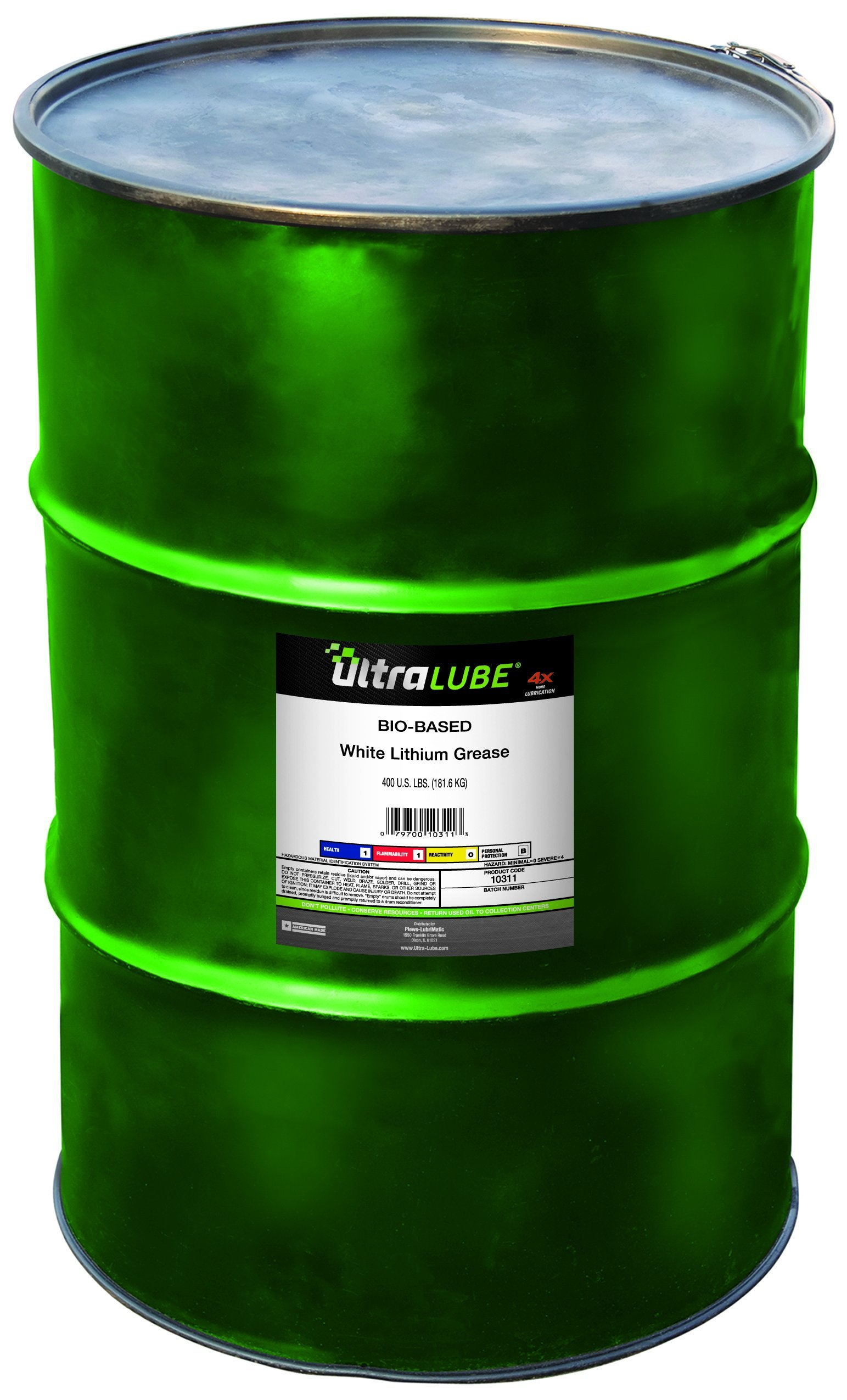 Ultra Lube 10311 White Lithium Biobased Grease- 400 Lbs Metal Drum by LubriMatic
