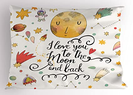 Amazoncom Lunarable Star Pillow Sham I Love You To The Moon And