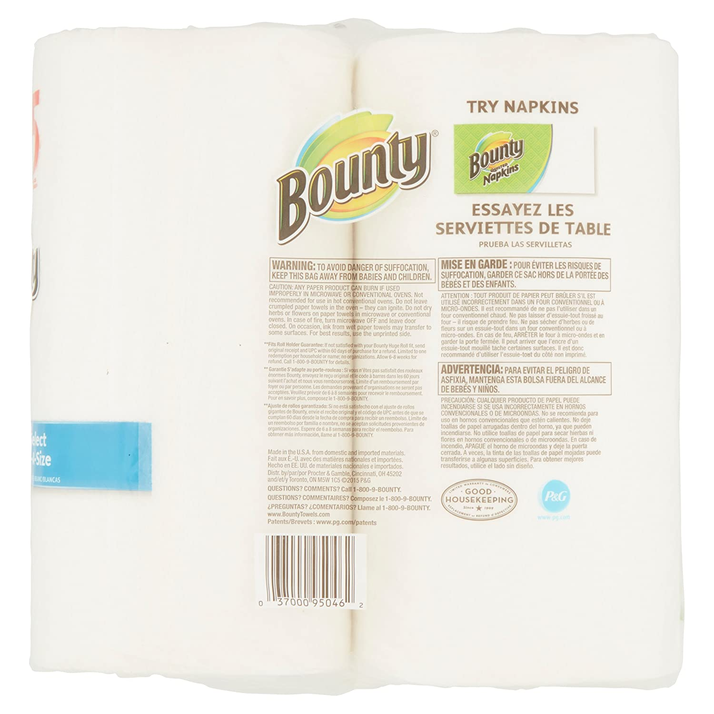 Bounty select-a tamaño toallas de papel enorme rollos, 158 hojas, 2 rollos: Amazon.es: Hogar