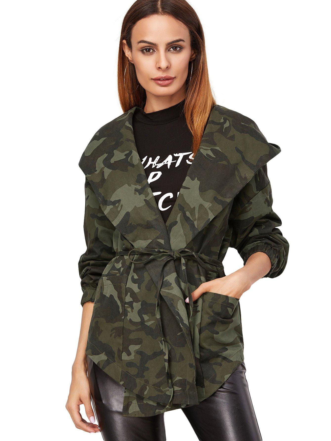 Romwe Women's Camo Print Hooded Shawl Collar Wrap Jacket with Belt Olive M