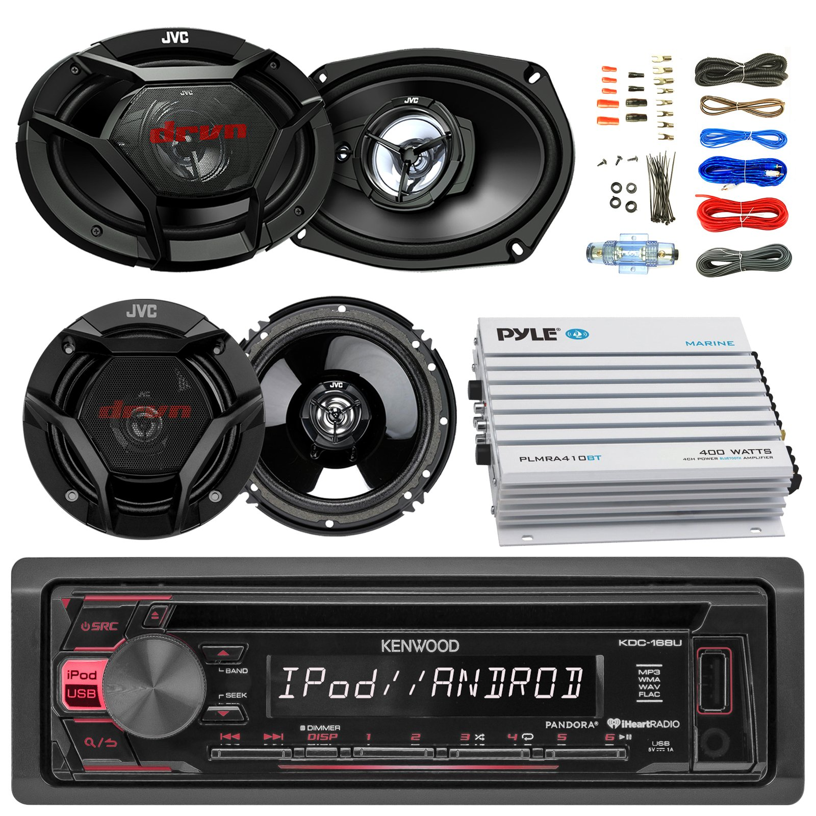 Kenwood KDC168U Car CD Player Receiver USB AUX Radio - Bundle Combo With 2x JVC 6x9'' 3-Way Vehicle Coaxial Speakers + 2x 6.5'' Inch 2-Way Audio Speakers + 4-Channel Amplifier + Amp Kit