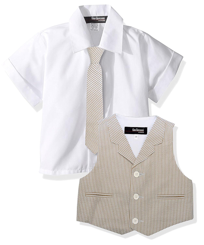Gino Giovanni Baby Toddler Boy Seersucker Summer Suit Vest Short Set