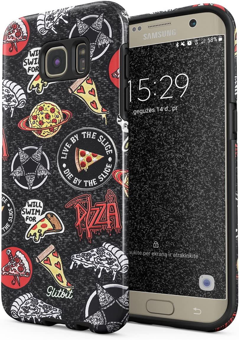 Glitbit Compatible with Samsung Galaxy S6 Edge Case Pizza Slice Food Patches Pattern Embroidery Crust We Trust Food Addict Fast Food Shockproof Dual Layer Hard Shell + Silicone Protective Cover