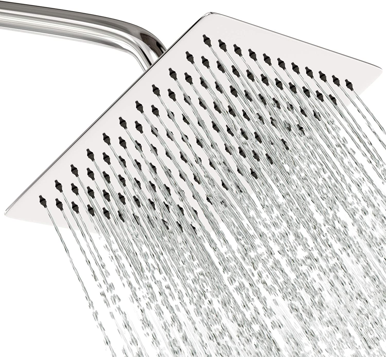 Rain Shower Head Stainless Steel NEW 2019 High Pressure Square 8 In Rainfall Bathroom Powerful Spray Shower Heads Best High Flow Fixed Chrome SPA Showerhead with Adjustable Metal Swivel Ball