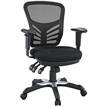 Amazon Com Modway Articulate Black Mesh Office Chair Kitchen