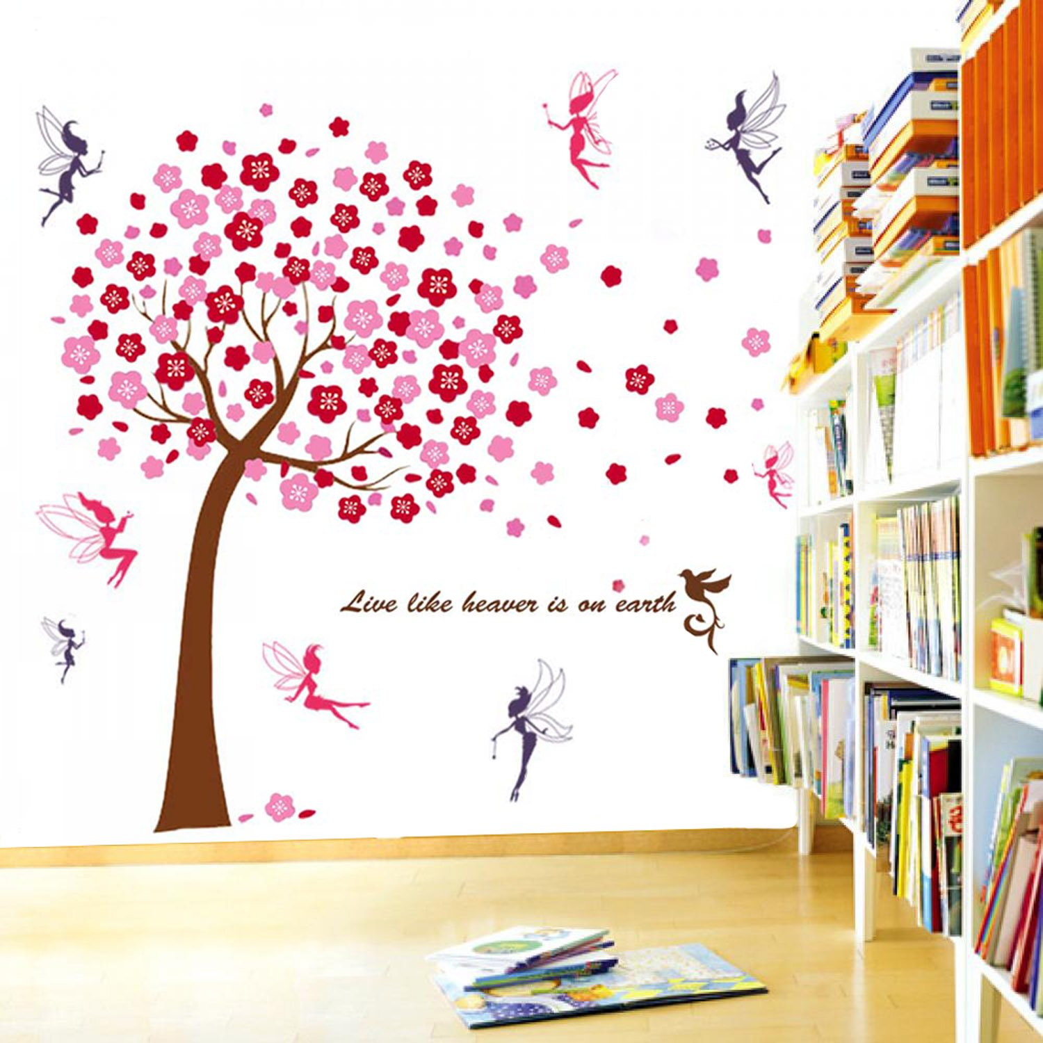 walplus wall stickers combo huge pink tree plus fairies office walplus wall stickers combo huge pink tree plus fairies office home decoration 175cm x 150 cm pvc self adhesive multi color amazon co uk kitchen