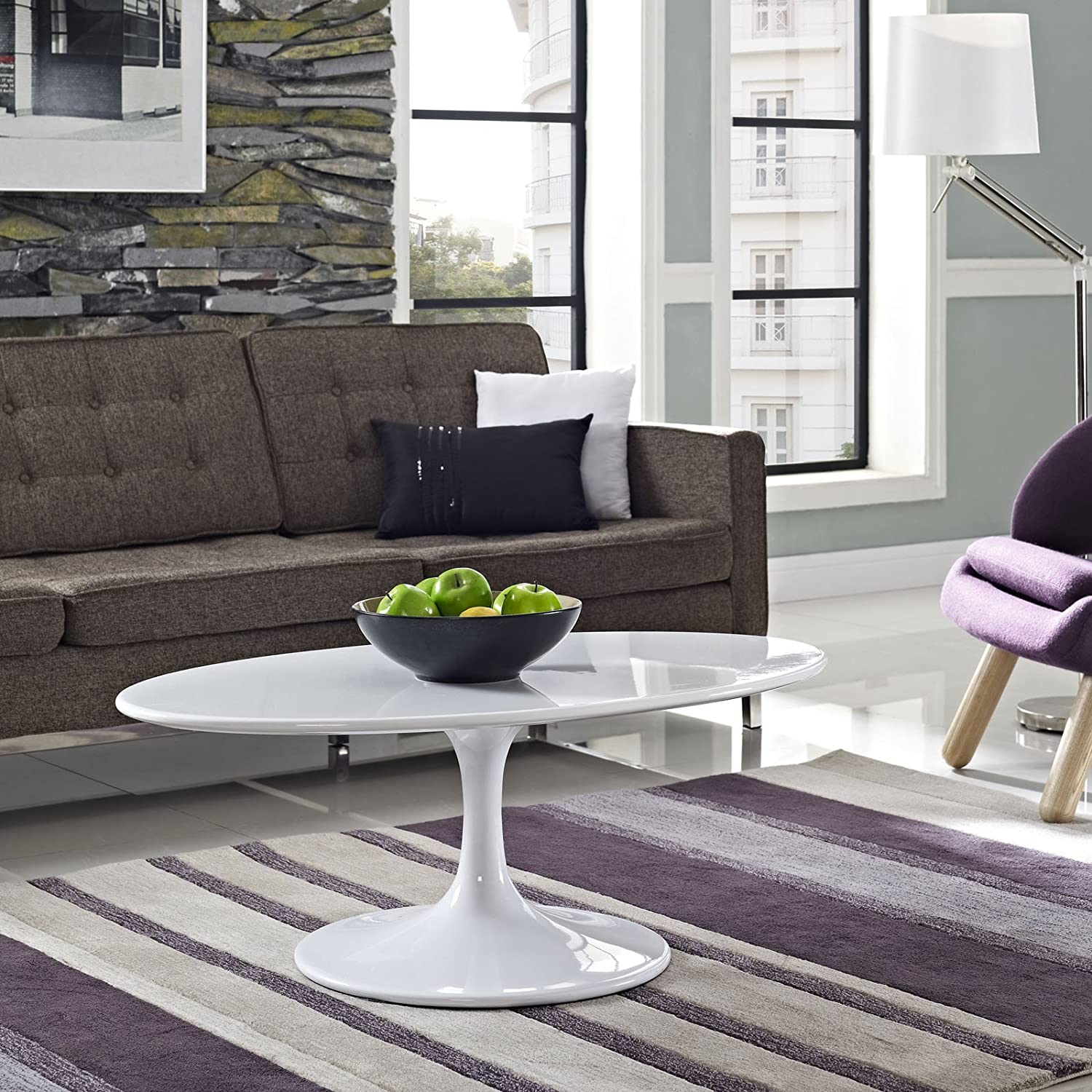 Amazon modway lippa 42 oval shaped wood top coffee table in amazon modway lippa 42 oval shaped wood top coffee table in white kitchen dining geotapseo Images