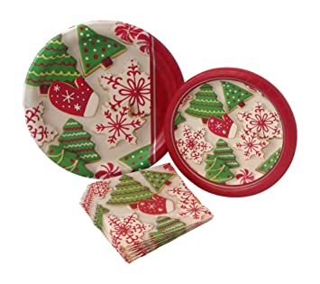 Christmas Paper Plates.Christmas Cookie Party Supply Pack Bundle Includes Paper Plates Napkins For 8 Guests