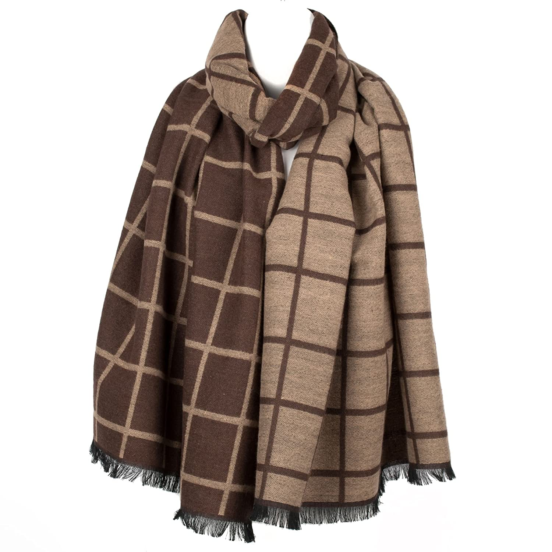 Luxury Mens Womens Unisex Squares Pattern Winter Scarf