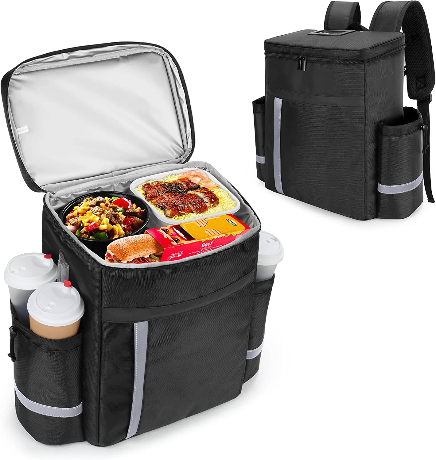 Trunab Insulated Food Delivery Backpack with Side Cup Holders, Leak-Proof Reusable Cooler Bag for Bike Delivery, Uber Eats, Doordash, Beach, Camping, Picnics