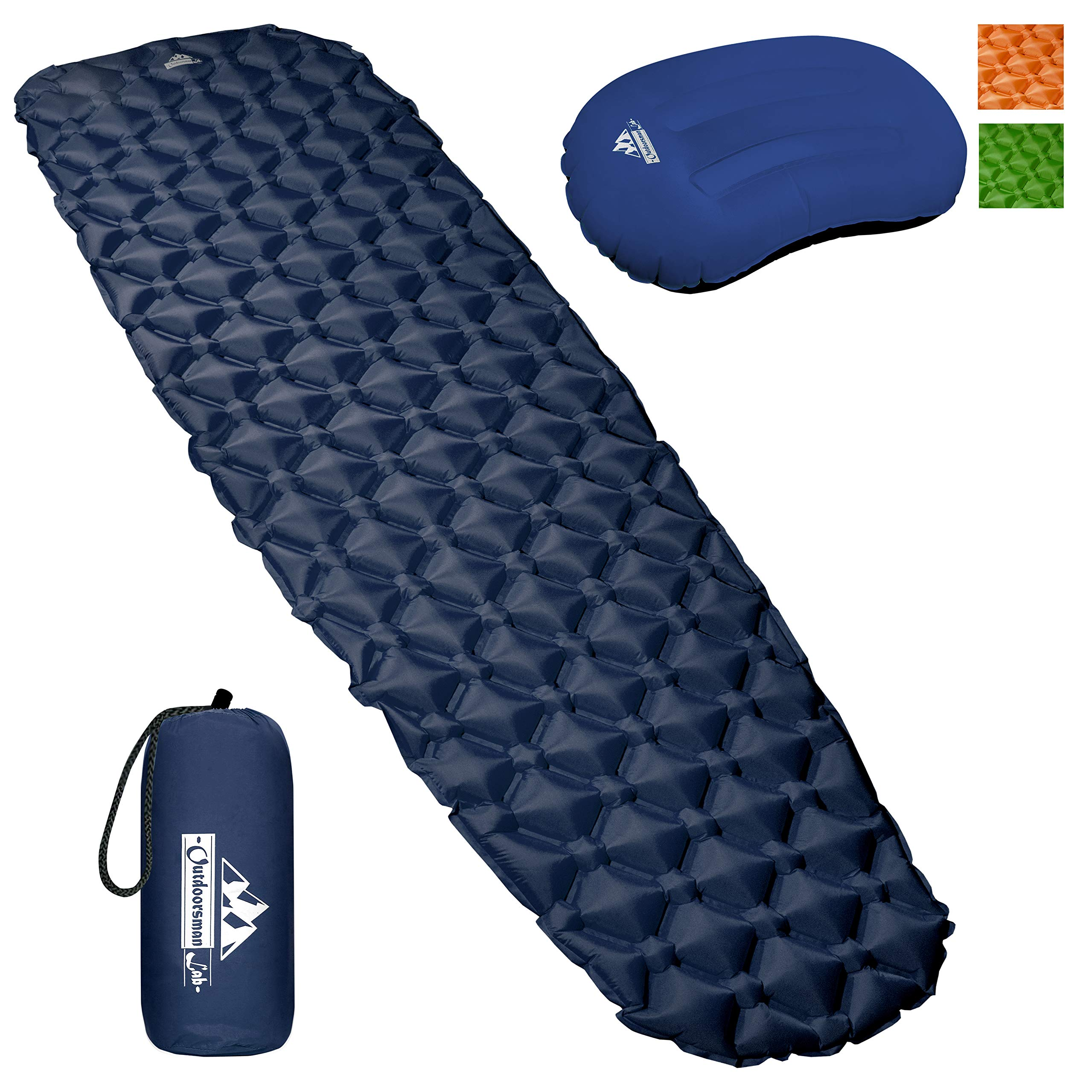 Outdoorsman Lab Camping Sleeping Pad | Ultralight Inflatable Camping Mat Pad for Backpacking & Hiking | Durable Insulated Sleeping Mat, Compact Carrying Bag and Repair Kit (Blue Bundle with Pillow) by Outdoorsman Lab