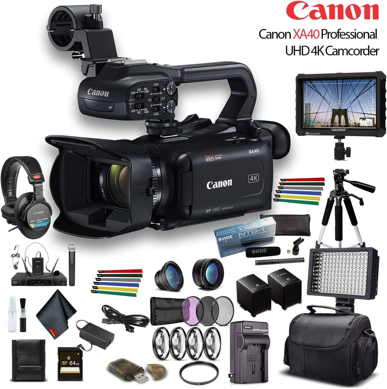 Filter Kit Canon XA55 Professional UHD 4K Camcorder LED Light 4K Monitor Sony Mic and More Advanced W//Mic Bundle 64GB Memory Card Sony Headphones 3668C002 W// 2 Extra Battery Soft Padded Bag