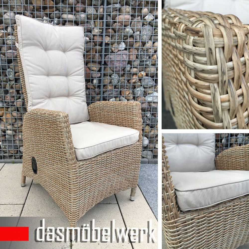dasm belwerk polyrattan hochlehner verstellbare r ckenlehne rattan stuhl relax sessel. Black Bedroom Furniture Sets. Home Design Ideas