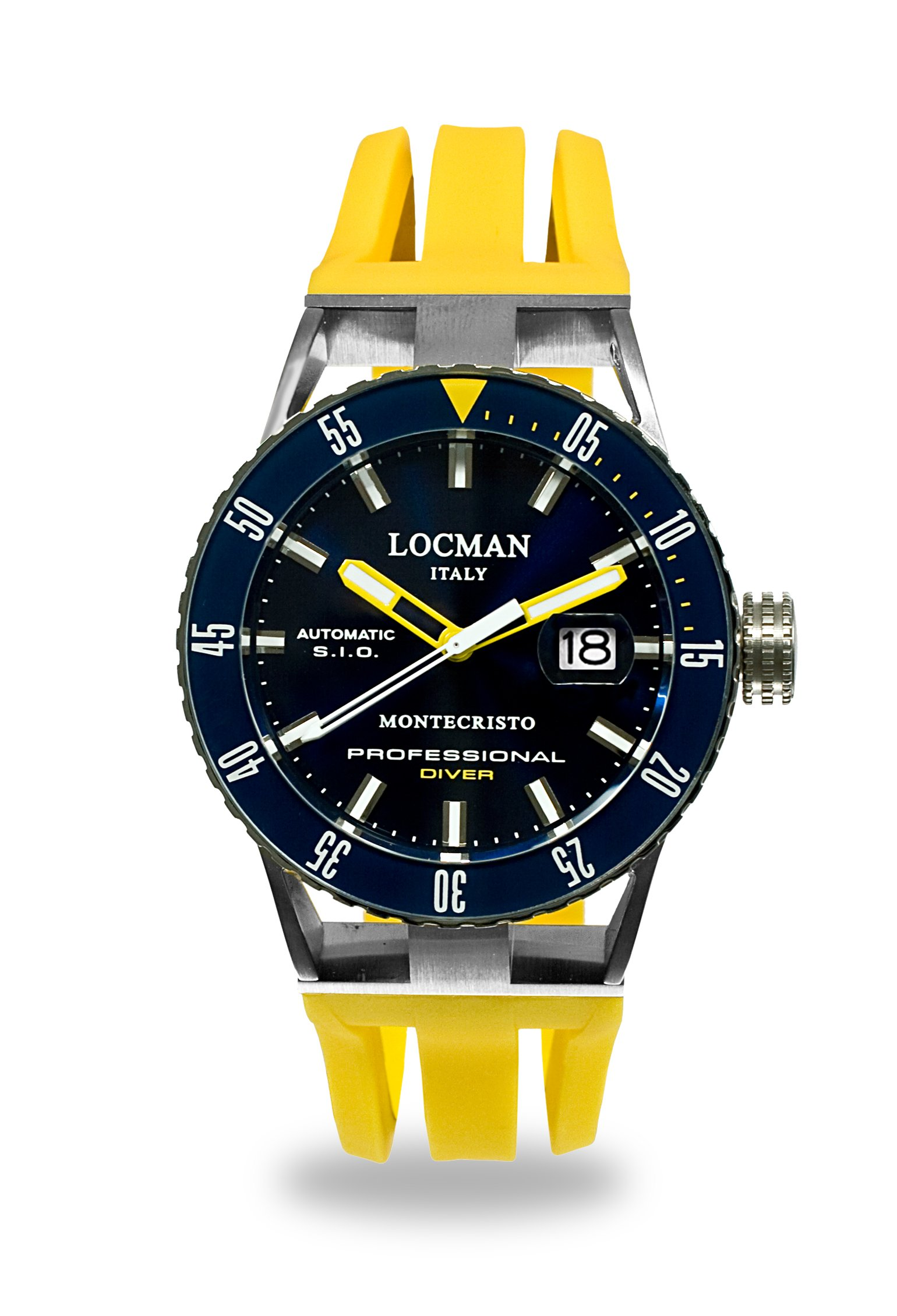 Locman Italy Men's 'Montecristo Professional' Automatic Stainless Steel and Rubber Diving Watch, Color:Yellow (Model: 051300BYBLNKSIY)