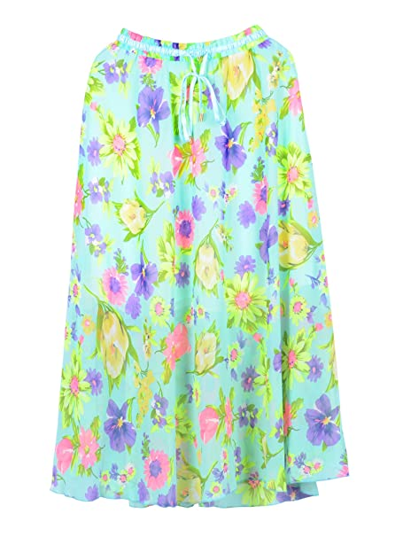 1495b4a8e Simplicity Boho-Style Skirt in Mint Green w/Lavender Multi Floral Detail at  Amazon Women's Clothing store: