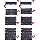 QTEATAK 8 Pack 18650 Battery Holder Bundle with Wire 1 18650 Battery Holder 3.7V, 2 Pcs, 2 Battery Holder 7.4V, 2 Pcs, 3 Batt