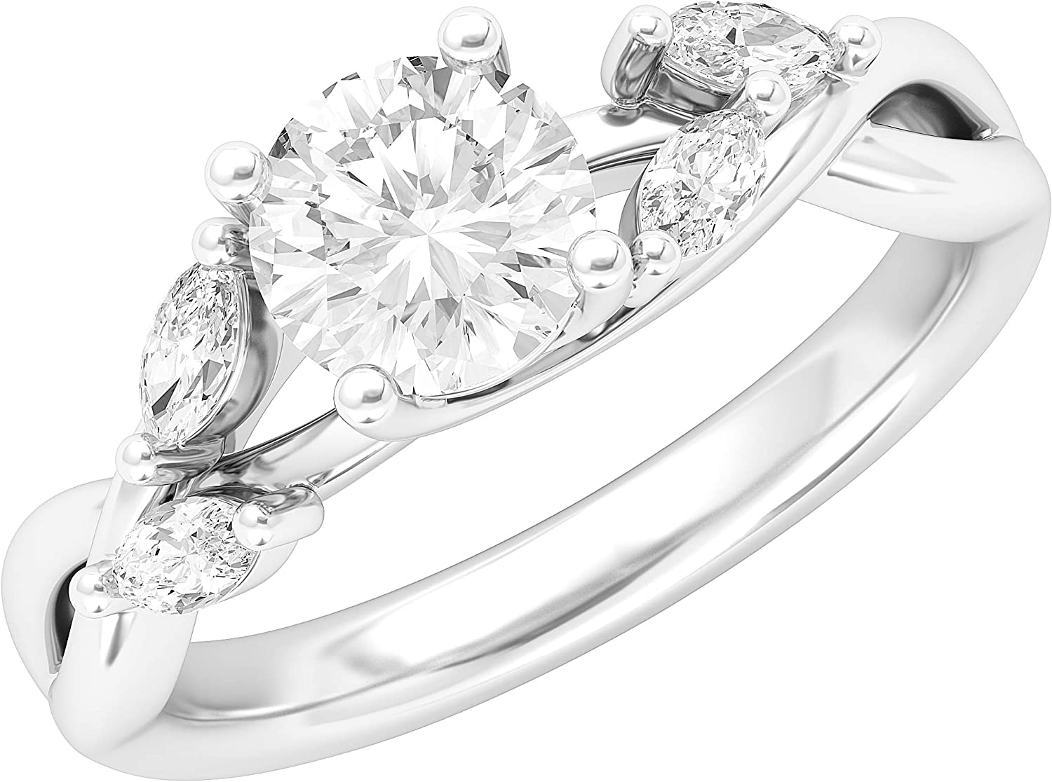 Sterling Silver Twisted Willow Vine 1.0CT Simulated Diamond Engagement Ring Promise Bridal Ring with Marquise