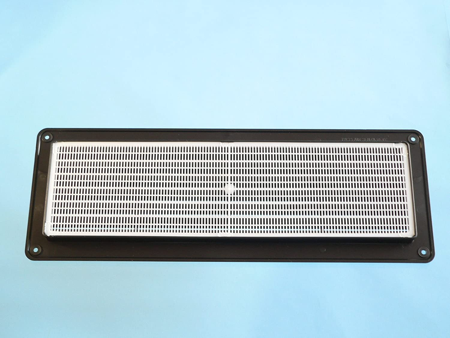 FLUSH FITTING RECTANGULAR PLASTIC AIR VENT WITH INSECT//MOSQUITO NET 370mm x 130mm x 20mm available in WHITE BROWN BLACK Suitable for internal an external use. Black