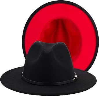 Eric Carl Sombrero de Fieltro de Lana de Trend, Color Rojo y Negro, para Hombre y Mujer, con Banda de Piel, ala Ancha, Sombrero de Fieltro