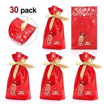 Howaf Noel Sacs A Cordons Pochette Cadeau Sachet Pour Bonbons Biscuits Petit Cadeau Noel Mariage Anniversaire De Fete Bonbonnieres Ou Emballage