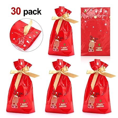 Howaf 30 Navidad Bolsas Regalo con Cordón Navidad Fiestas cumpleaños Bolsas Regalo para Caramelos, Chocolate, Galletas, Calendario de adviento