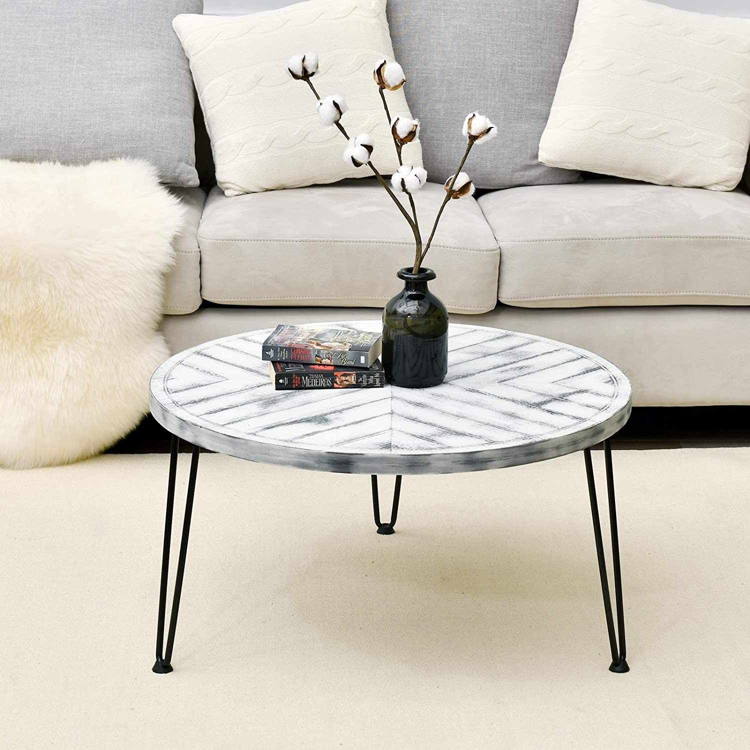- Amazon.com: WELLAND Round Coffee Table Washed White End Table