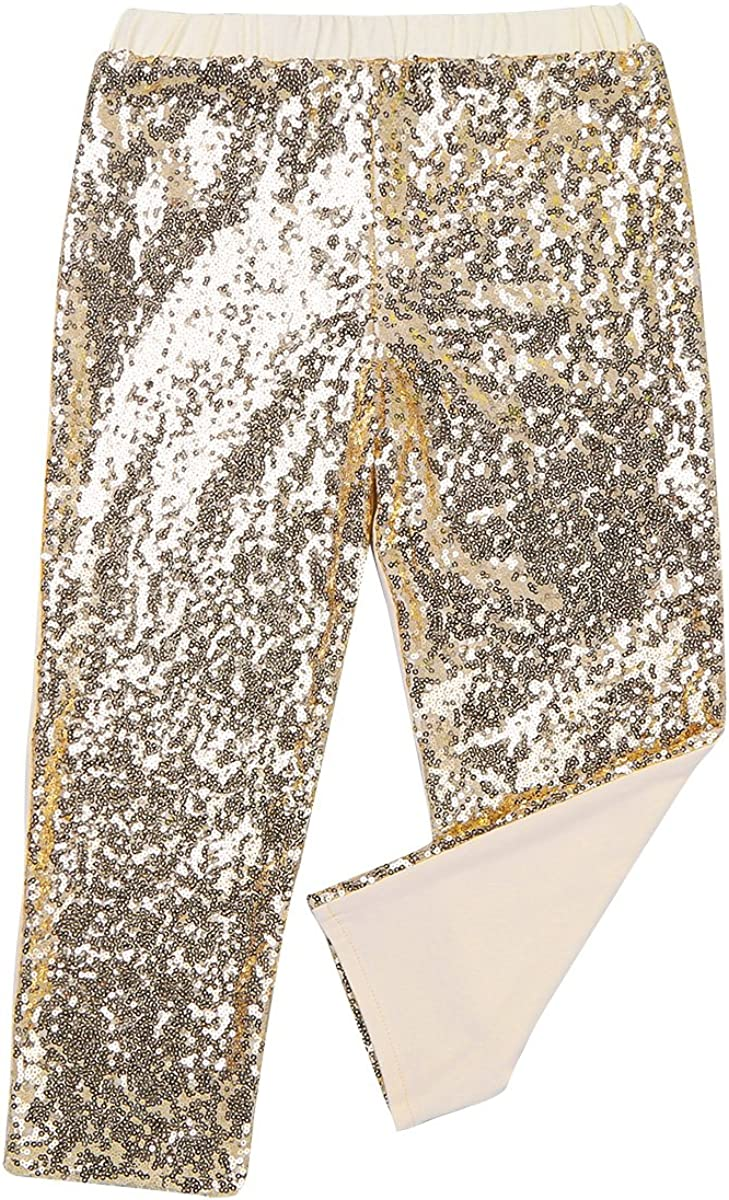 TiaoBug Infnat Kids Girls Sparkle Sequins Pants Leggings for Birthday Party Dance Trousers Clothes