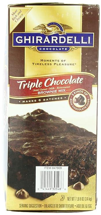 Ghirardelli Triple Chocolate Brownie Mix 7lb/3.4kg Makes 6 Batches: Amazon.es: Alimentación y bebidas
