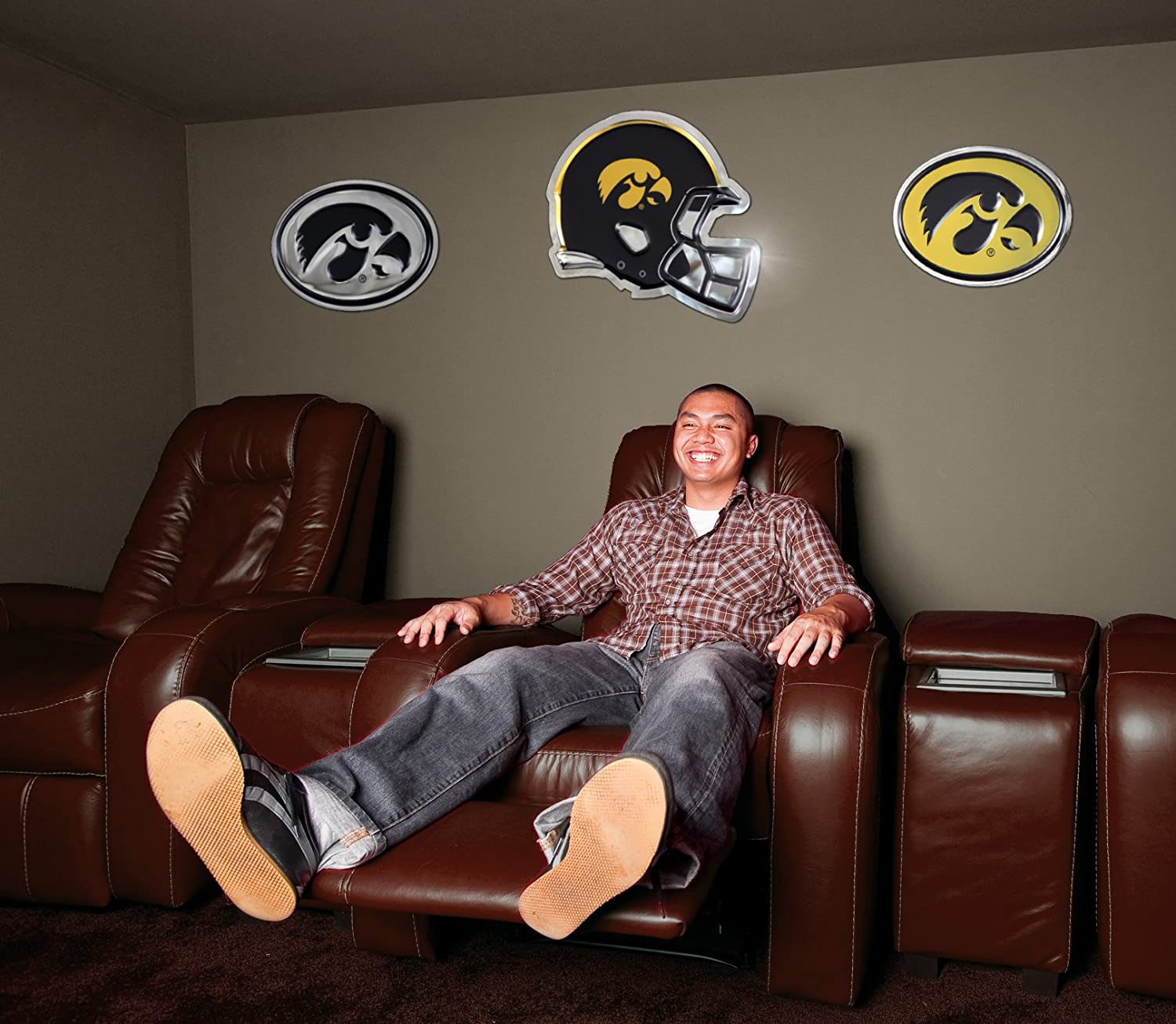 Chrome Domz NCAA Iowa Hawkeyes Oval Black and Gold Tiger Wall Art One Size Chrome Sign Made from 100/% Stainless Steel