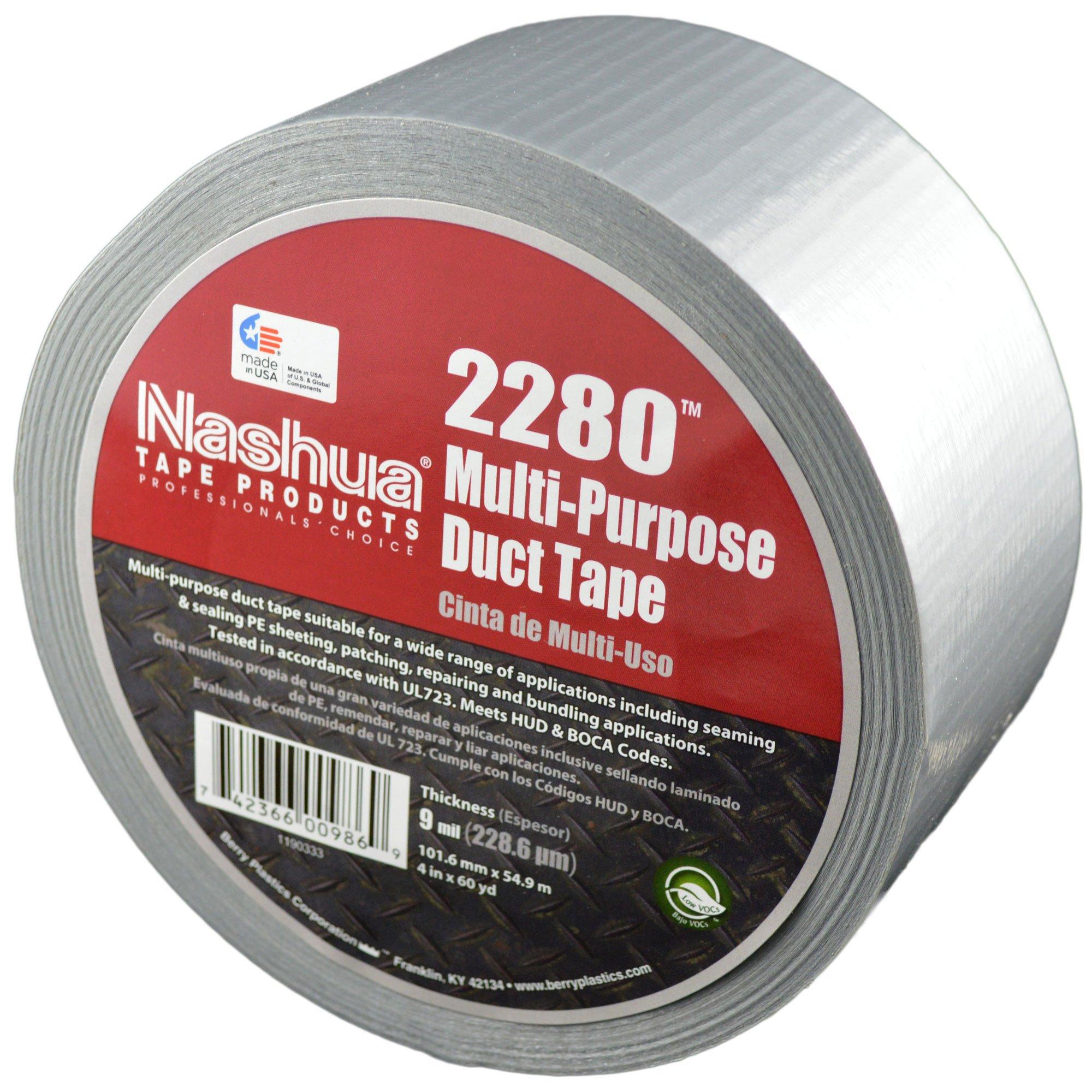 NASHUA 2280 Silver Duct Tape, Bulk Pack, Full Case, 72mm x 55M, 16 Rolls