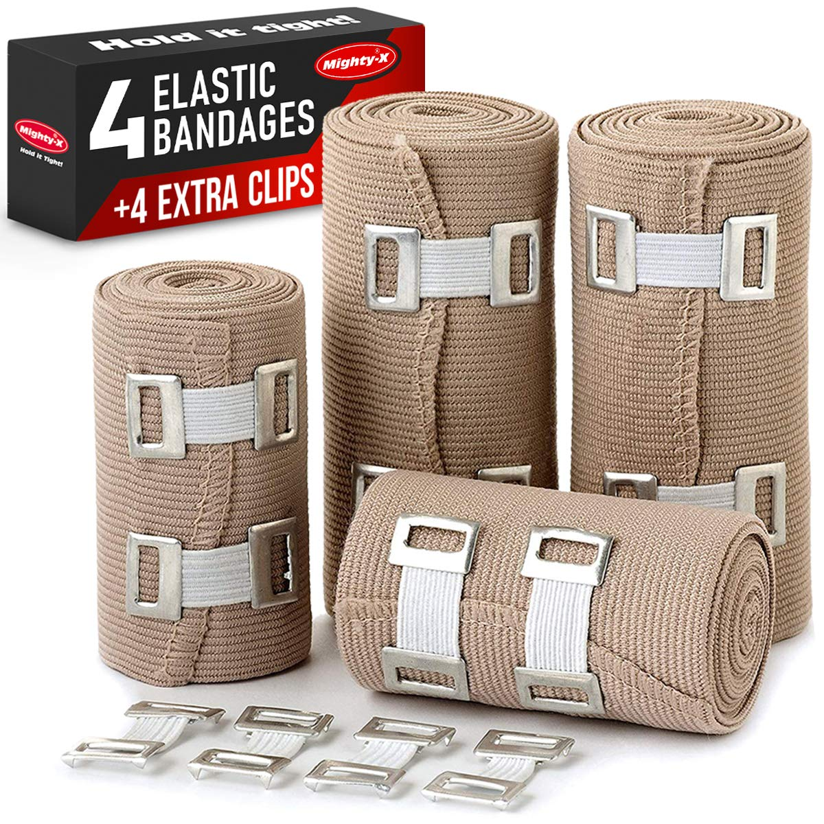 Premium Elastic Bandage Wrap - 4 Pack + 4 Extra Clips - Durable Compression Bandage (2X - 3 inch, 4X - 4 inch Rolls) Stretches up to 15ft in Length by Mighty-X