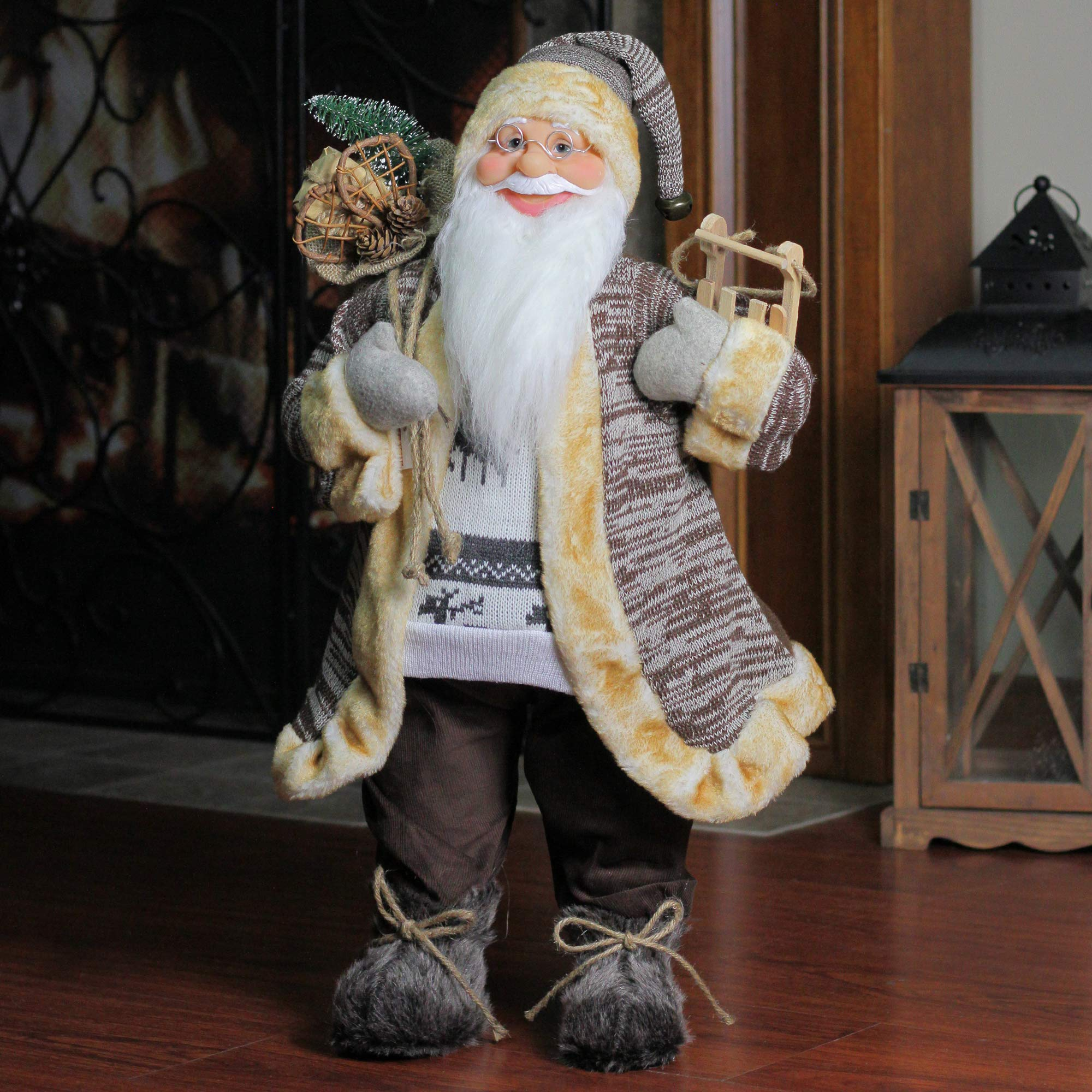 Northlight 24'' Natural Country Brown Standing Santa Claus Christmas Figure with Sled and Gift Bag by Northlight (Image #1)