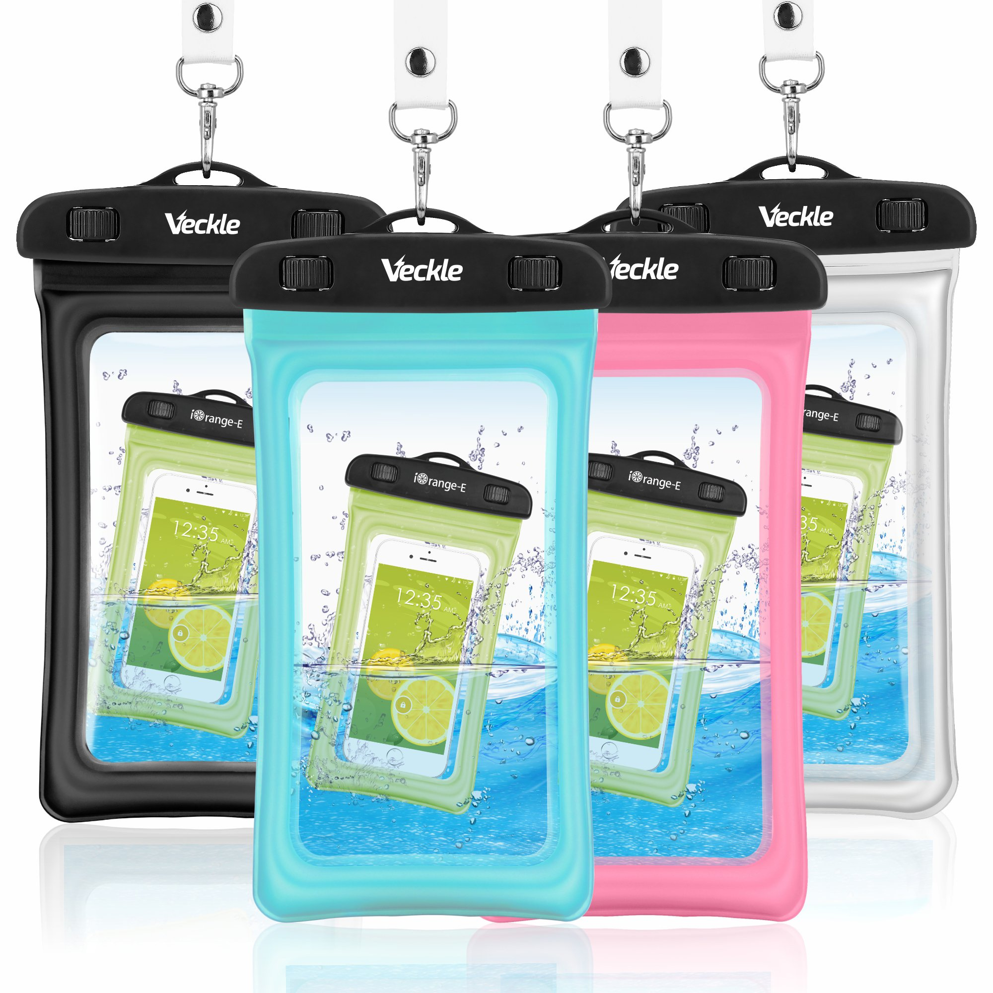 Veckle Waterproof Case, 4 Pack Floating Waterproof Cell Phone Pouch Universal TPU Clear Water Proof Dry Beach Bag for iPhone X 8 7 6S 6 Plus, Samsung Galaxy S9 S8 S7 S6, Note 5, Black White Blue Pink by Veckle