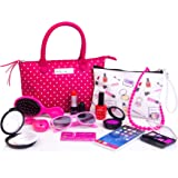 PixieCrush Deluxe Pretend Play Kid Purse Set for Girls with Handbag, Pretend Smart Phone, Keys, Pretend Makeup, Lipstick Interactive & Educational Toy (Pink/White Polka Dot/Deluxe)