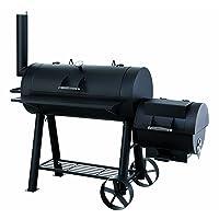 Tepro Milwaukee Smoker schwarz groß Räuchergrill Balkon Garten ✔ Rollen ✔ Deckel ✔ Ablagefläche ✔ rund ✔ rollbar ✔ stehend grillen ✔ Grillen mit Holzkohle ✔ mit Station ✔ mit Rädern