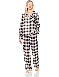 ec5bc26d107 Amazon.com: Amazon Brand - Mae Women's Sleepwear Notch Collar Pajama ...
