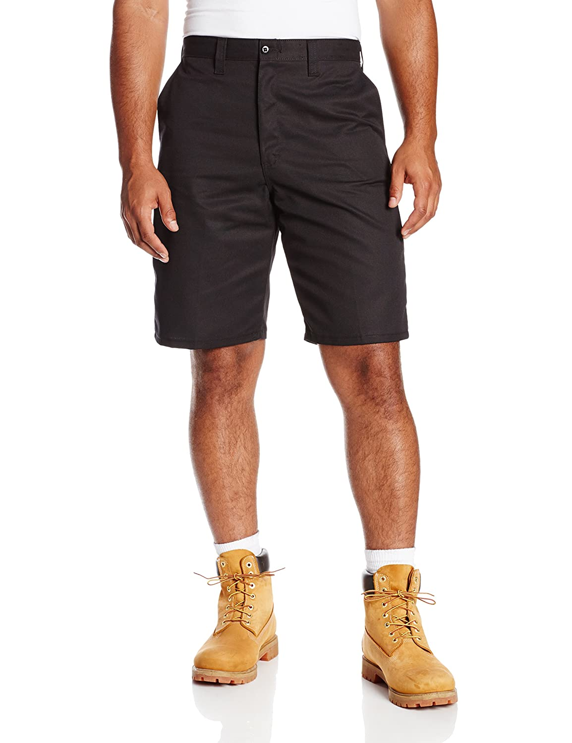 Dickies Occupational Workwear LR303BK 46 Polyester/ Cotton Relaxed Fit Men's Industrial Flat Front Short with Button Closure, 46 Waist Size, 11 Inseam, Black 46 Waist Size 11 Inseam