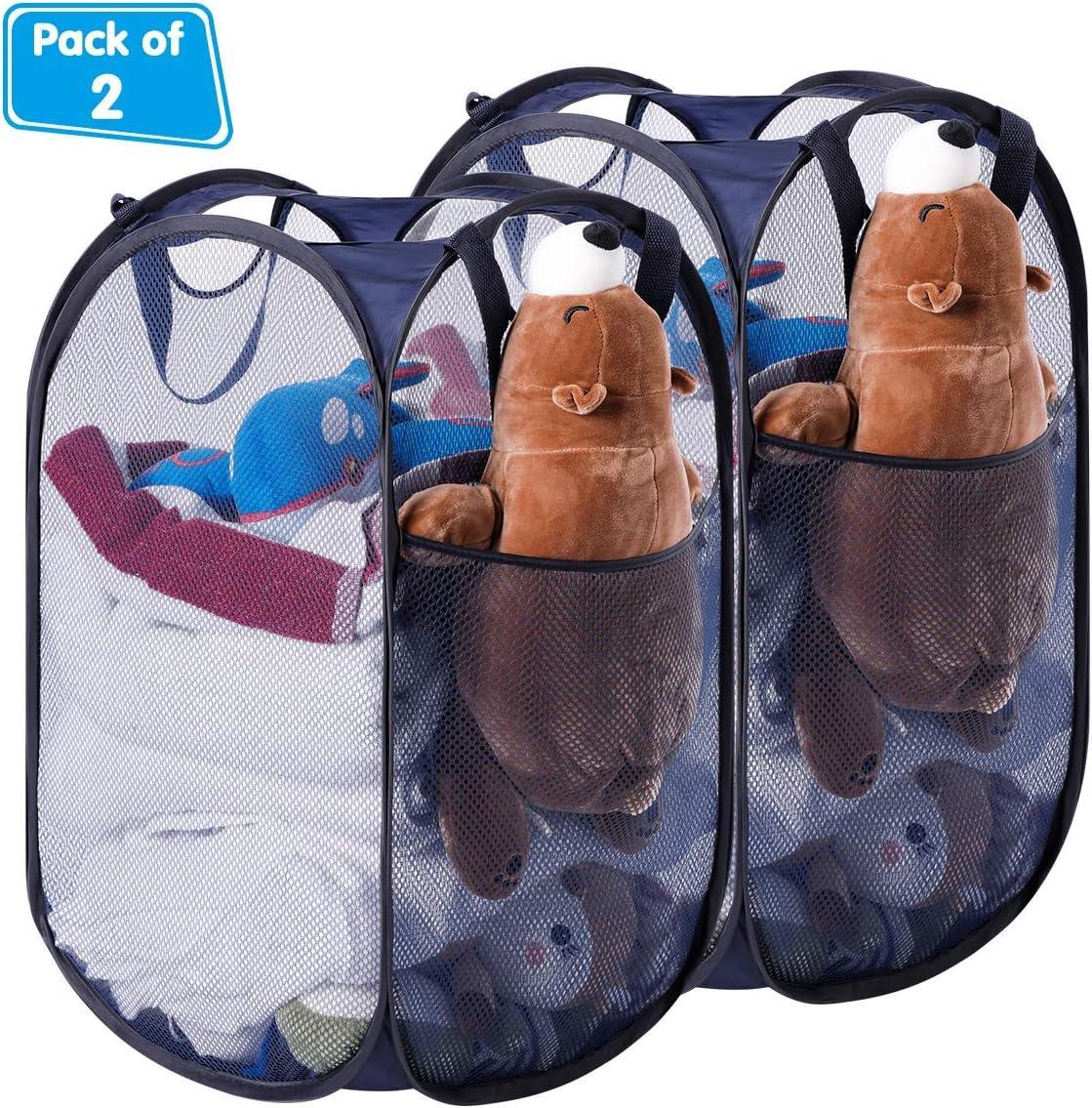 HOMEIDEAS Pack of 2 Foldable Pop-Up Mesh Laundry Hamper Basket for Dorm, Kids Room or Travel, Navy Blue