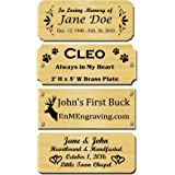 "2"" H x 5"" W, Solid Brass Satin Name Plates, Personalized Custom Laser Engraved Nameplate Label Art Tag for Frames Notched Squ"
