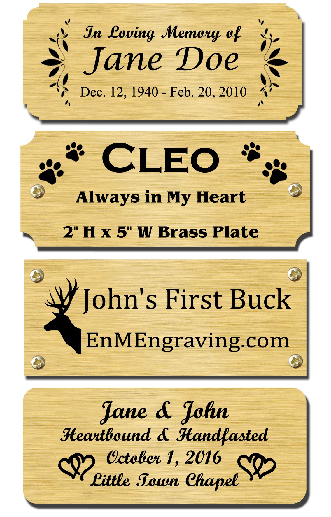 2'' H x 5'' W, Solid Brass Satin Name Plates, Personalized Custom Laser Engraved Nameplate Label Art Tag for Frames Notched Square Or Round Corners, Made to Order, Made in USA