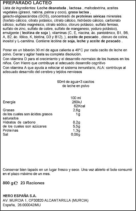 Hero Baby Leche Nutrasense 3, desde 12 Meses - 800 g: Amazon.es: Amazon Pantry