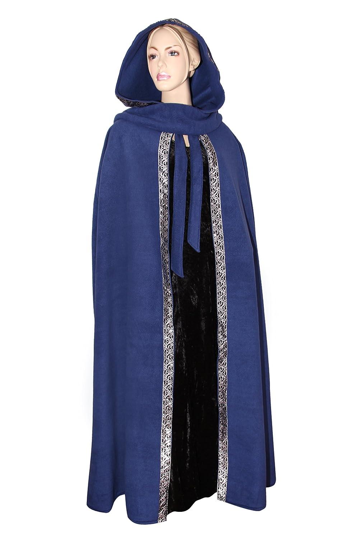 Kreativwunderwelt Mittelalterlicher Kapuzenumhang mit Borte - wärmend - blau - 140cm