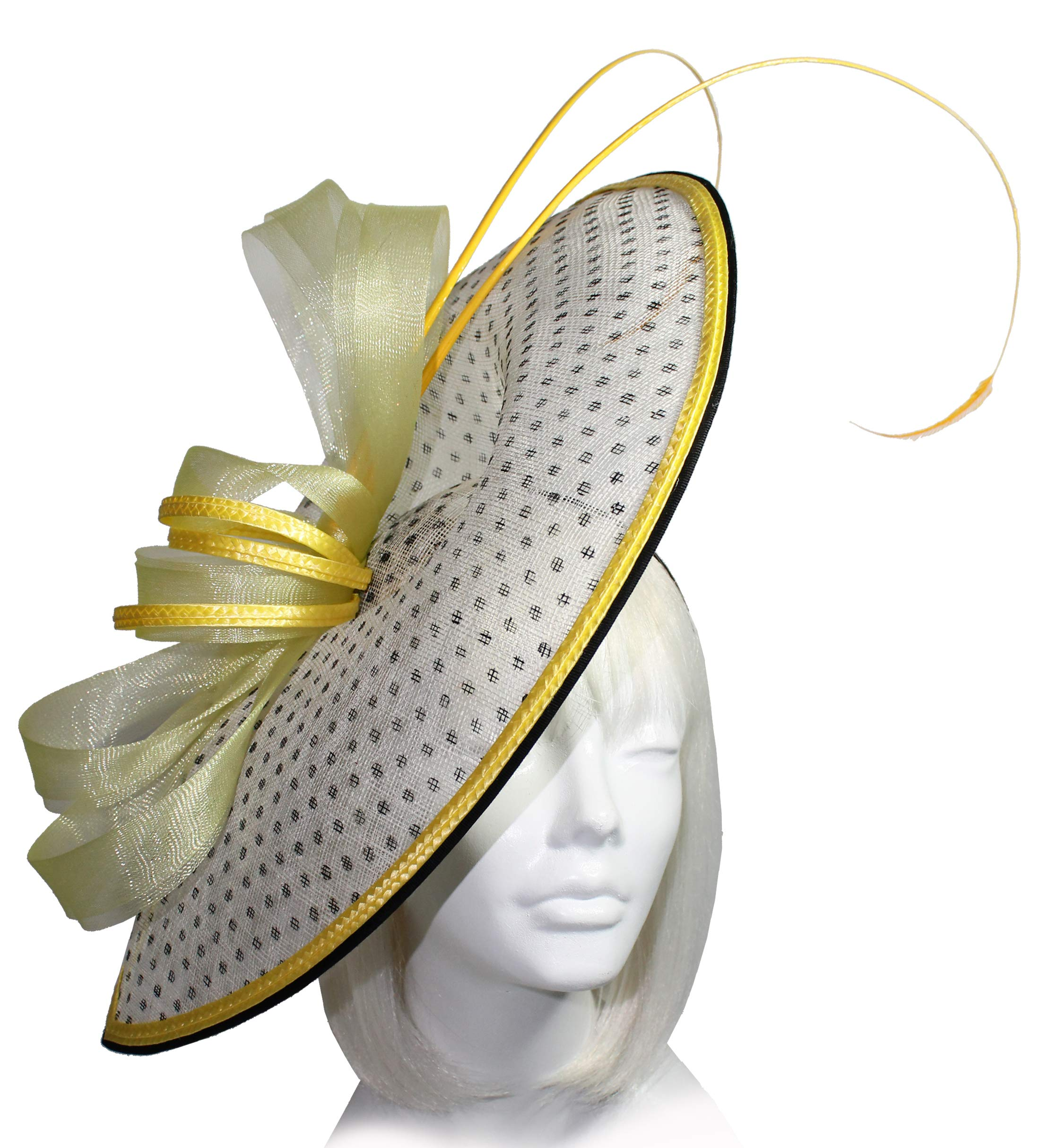 Mr. Song Millinery Derby/Ascot Sinamay Profile Fascinator - SF63 (Yellow)